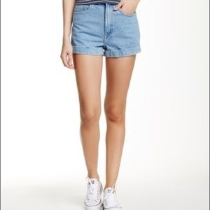 American Apparel Denim Hi Waist Cuff Shorts